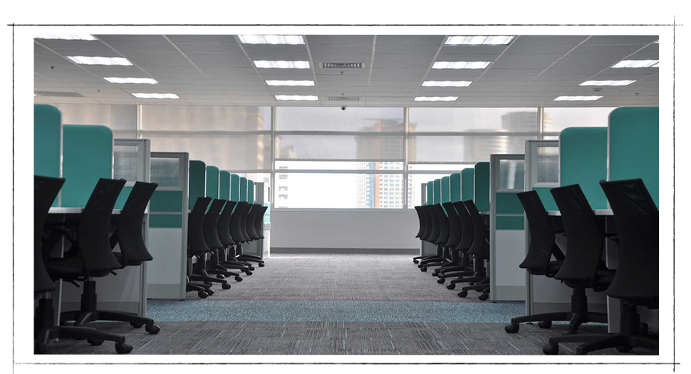 Office full of cubicles but no people are working there