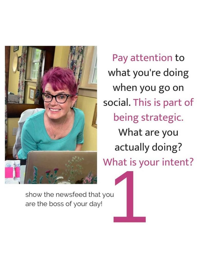 Robin Carberry on her laptops with a tip to manage your time on social media