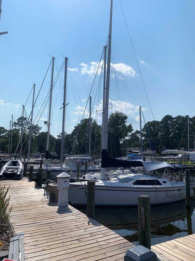 sailboats at docks in Oriental, NC