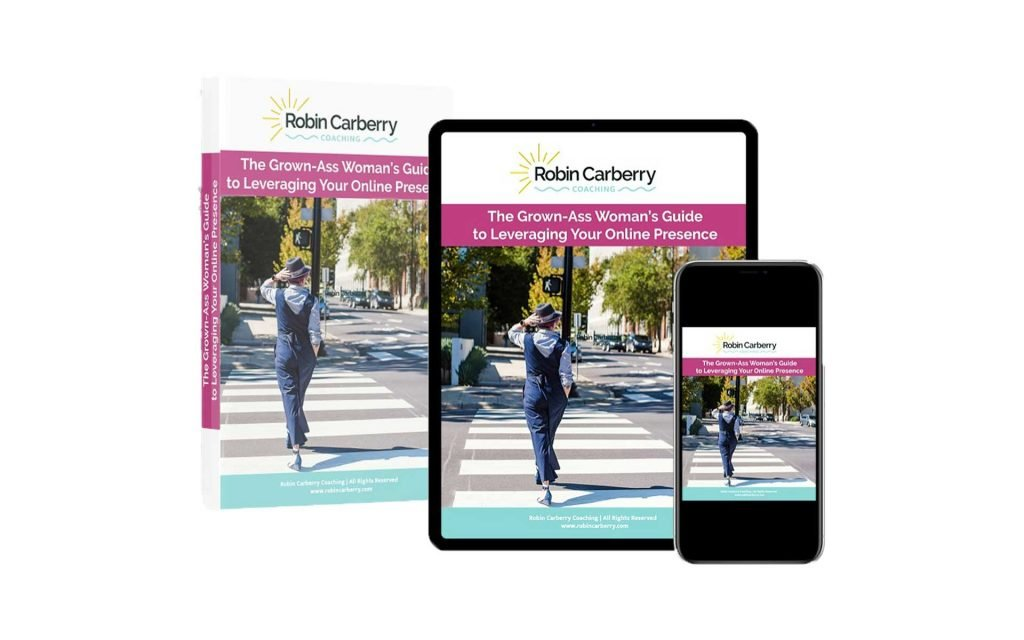 Grown-Ass Woman's Guide to Leveraging Your Online Presence Mockup Book, Tablet, Phone